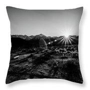 Eastern Sierra Sunset In Monochrome Throw Pillow