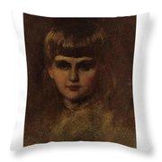 Eastman Johnson 1824-1906 Young Girl Throw Pillow