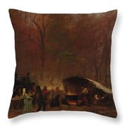 Eastman Johnson - A Different Sugaring Off - Circa 1865 Throw Pillow