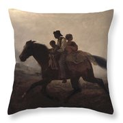 Eastman Johnson - A Ride For Liberty--the Fugitive Slaves 1862 Throw Pillow