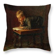 Eastman Johnson - Reading Boy Throw Pillow