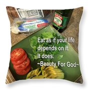 Eat Throw Pillow by Beauty For God
