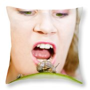 Eating The Invaders Throw Pillow