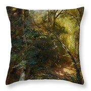 Ebert, Carl 1821 Stuttgart - 1885   Inside A Forest. Throw Pillow