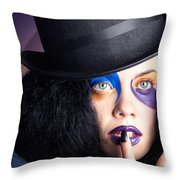 Eccentric Mad Fashion Hatter In Colourful Makeup Throw Pillow