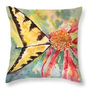 Echinacea Butterfly Throw Pillow