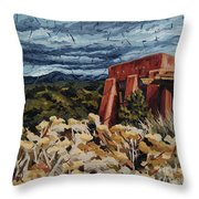 Echoes Of Tularosa, Museum Hill, Santa Fe, Nm Throw Pillow