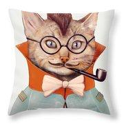 Eclectic Cat Throw Pillow