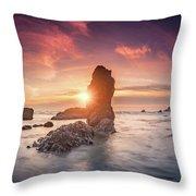 Ecola State Park Beach Sunset Pano Throw Pillow