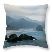 Ecola State Park View Of Haystack Rock And 3 Arch Rocks Throw Pillow
