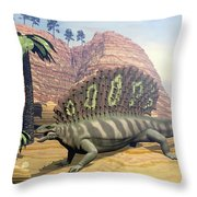 Edaphosaurus Dinosaur - 3d Render Throw Pillow