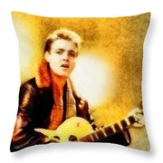 Eddie Cochran, Music Legend By John Springfield Throw Pillow