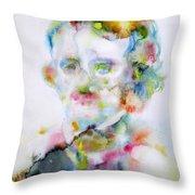 Edgar Allan Poe - Watercolor Portrait.4 Throw Pillow