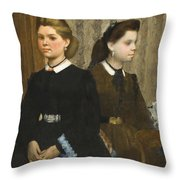 Edgar Degas - The Bellelli Sisters Giovanna And Giuliana Bellelli Throw Pillow