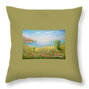 Edge Of The Cliffs By The Sea Throw Pillow