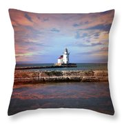 Edgewater Lighthouse Sunset Throw Pillow