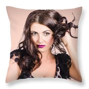 Edgy Hair Fashion Model With Brunette Hairstyle Throw Pillow