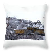 Edinburgh Castle And National Galleries Of Scotland In Winter Throw Pillow