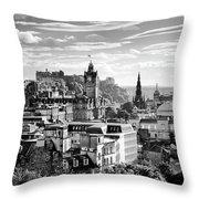 Edinburgh From Calton Hill.    Black And White Throw Pillow
