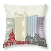 Edmonton Skyline Poster Throw Pillow