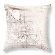 Edmonton Street Map Colorful Copper Modern Minimalist Throw Pillow