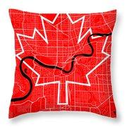 Edmonton Street Map - Edmonton Canada Road Map Art On Canada Flag Symbols Throw Pillow