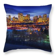 Edmonton Winter Skyline Throw Pillow