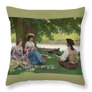 Edmund Blair Leighton 1852-1922 A Picnic Party Throw Pillow