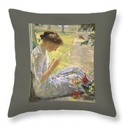 Edmund Charles Tarbell - Mercie Cutting Flowers 1912 Throw Pillow