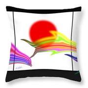 Edo Period Dolphin Screen Throw Pillow