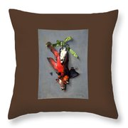 Eduard Quitton  Still Life With Green Ribbon, Fly, And Four American Birds Throw Pillow