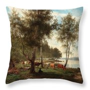 Edvard Bergh, Summer Landscape With Cattle And Birches. Throw Pillow