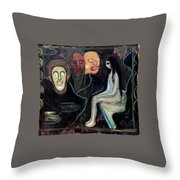 Edvard Munch - Girl And Three Mens Heads 1895-98 Throw Pillow