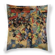 Edward Atkinson Hornel 1864 - 1933 Carnival Day, Japan Throw Pillow