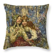 Edward Atkinson Hornel 1864-1933 The Bluebell Wood Throw Pillow