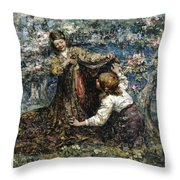 Edward Atkinson Hornel 1864 - 1933 The Butterfly Catchers Throw Pillow