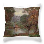 Edward Henry Potthast 1857 - 1927 October Days Throw Pillow