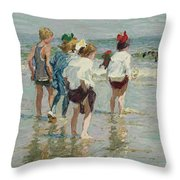 Edward Henry Potthast 1857 - 1927 Summer Day, Brighton Beach Throw Pillow