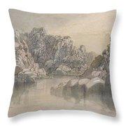 Edward Lear - River Pass Between Semi Barren Rock Cliffs Throw Pillow