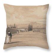 Edward Lear - The Gardens Of The Villa Albani Throw Pillow