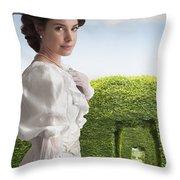 Edwardian Woman In A Summer Garden  Throw Pillow