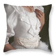 Edwardian Woman Mid Section  Throw Pillow