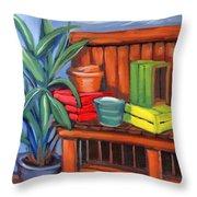 Edwards Nursery Potting Bench Throw Pillow
