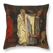 Edwin Austin Abbey 1852-1911 King Lear, Cordelias Farewell Throw Pillow
