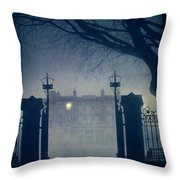 Eerie Mansion In Fog At Night Throw Pillow