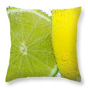 Effervescent Lime And Lemon By Kaye Menner Throw Pillow