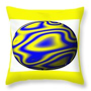 Egg In Space Blue And Yellow Throw Pillow