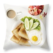Egg Salad Toast Fruit And Coffee Breakfast Set Throw Pillow