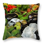 Eggplant, Cucumbers Throw Pillow