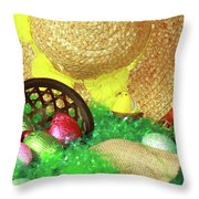 Eggs And A Bonnet For Easter Throw Pillow